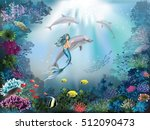 underwater world with dolphins... | Shutterstock .eps vector #512090473