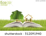 house and tree on open book.... | Shutterstock .eps vector #512091940