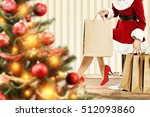 big blurred xmas tree with... | Shutterstock . vector #512093860