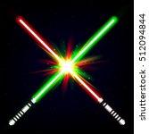 crossed light swords on night... | Shutterstock .eps vector #512094844