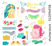 cute magic collection with...   Shutterstock .eps vector #512096938