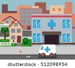cartoon street hospital stylish ... | Shutterstock .eps vector #512098954