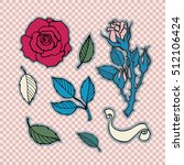 rose tattoo set. sticker  patch ... | Shutterstock .eps vector #512106424