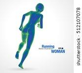 3d running woman  blue colored .... | Shutterstock .eps vector #512107078