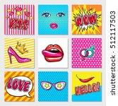 fashion colorful cards with... | Shutterstock .eps vector #512117503