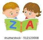 cartoon kids reading book boy... | Shutterstock .eps vector #512123008