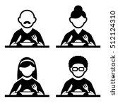 people eating tasting food... | Shutterstock . vector #512124310