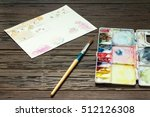 palette color with paintbrush... | Shutterstock . vector #512126308