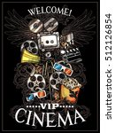 doodle cinema poster with... | Shutterstock .eps vector #512126854