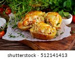 hot baked stuffed potato with... | Shutterstock . vector #512141413