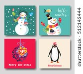 set of cute christmas character.... | Shutterstock .eps vector #512143444