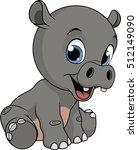 cute funny hippo | Shutterstock .eps vector #512149090