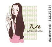 cute girl holding rat   symbols ... | Shutterstock .eps vector #512153554