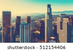 Stock photo aerial view of a downtown los angeles at sunset 512154406