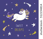 unicorn on the night sky with... | Shutterstock .eps vector #512154814