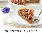 Pecan Pie slice without whipped cream - stock photo