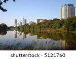 A picture Milwaukee Skyline from lake lagoon - stock photo