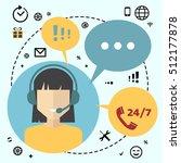 call center telemarketing woman ... | Shutterstock .eps vector #512177878