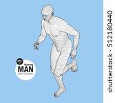 3d running man. wireframe... | Shutterstock .eps vector #512180440