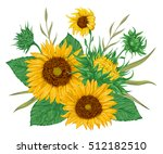 sunflowers set. collection... | Shutterstock .eps vector #512182510