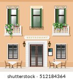 vintage style restaurant facade.... | Shutterstock .eps vector #512184364