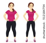 fat and slim woman  before and... | Shutterstock .eps vector #512184754