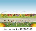 cartoon family in a green park... | Shutterstock .eps vector #512200168