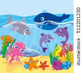 cute cartoon marine inhabitants  | Shutterstock .eps vector #512201230