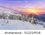 pine tree in winter at sunset... | Shutterstock . vector #512219518