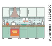 kitchen interior. vector line... | Shutterstock .eps vector #512242900