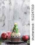 christmas tree cup cake on the... | Shutterstock . vector #512247310