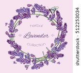 vector lavender flowers wreath... | Shutterstock .eps vector #512253034