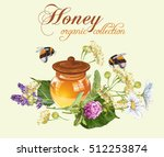 vector herbal honey banner with ... | Shutterstock .eps vector #512253874