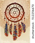 Hand drawn ornate Dreamcatcher with feathers, gemstones. Vector illustration. Card with art, astrology, spirituality, magic symbol. Ethnic tribal element