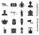 museum set icons in black style.... | Shutterstock .eps vector #512262844