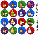 alcohol set icons in black... | Shutterstock .eps vector #512263720