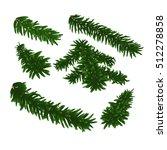green lush spruce branch. set... | Shutterstock .eps vector #512278858