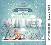 winter cityscape.city... | Shutterstock .eps vector #512287696