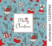 christmas card with christmas... | Shutterstock .eps vector #512305960