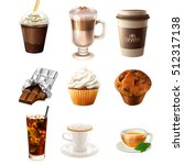 collection of different drink... | Shutterstock . vector #512317138