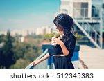 beautiful girl enjoying caffe...   Shutterstock . vector #512345383