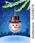 golf ball snowman head... | Shutterstock .eps vector #512348278