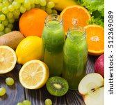 green smoothie in bottle with... | Shutterstock . vector #512369089