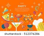 party concept in flat design... | Shutterstock .eps vector #512376286