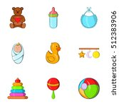 things for baby icons set.... | Shutterstock .eps vector #512383906