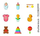 baby icons set. cartoon... | Shutterstock .eps vector #512383999