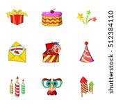 birthday icons set. cartoon... | Shutterstock .eps vector #512384110