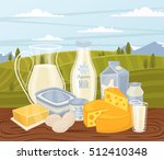 farm products banner with dairy ... | Shutterstock .eps vector #512410348