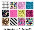 Stock vector memphis seamless patterns with geometric grid striped and other elements for fashion wallpapers 512414623