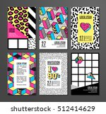 memphis cards with geometric... | Shutterstock .eps vector #512414629